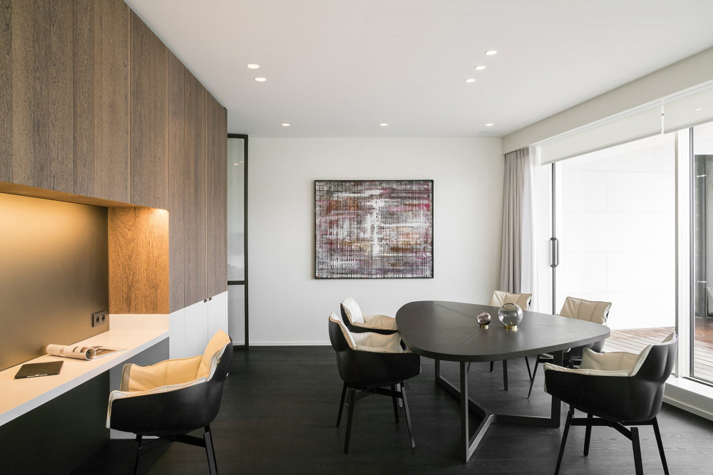 The living room of the Matexi Demo apartment that was fully equipped with home automation by ABC - Domotica